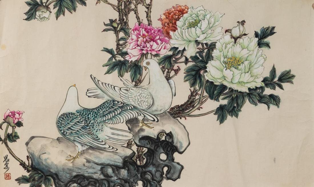(3) Chinese Paintings with Birds, Flowers & Bamboo