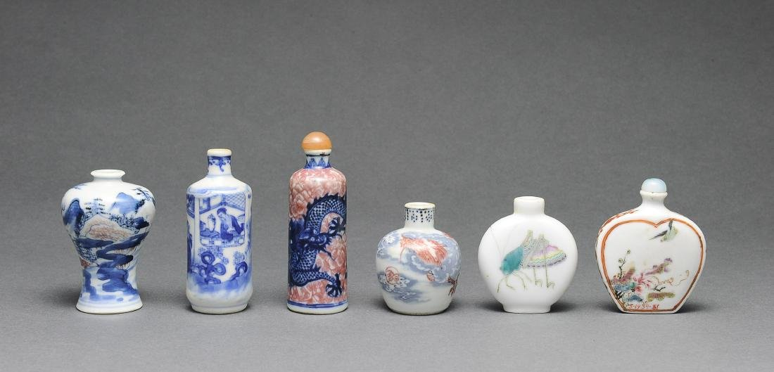 Group of 6 Chinese Porcelain Snuff Bottles