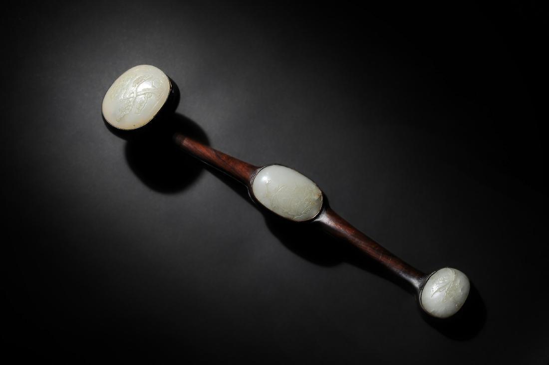 Chinese Ruyi Wand with 3 Jade Panels