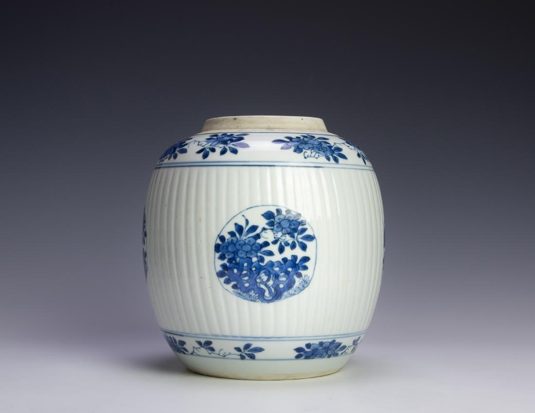 Kangxi Blue & White Flowers Jar, 17th Century