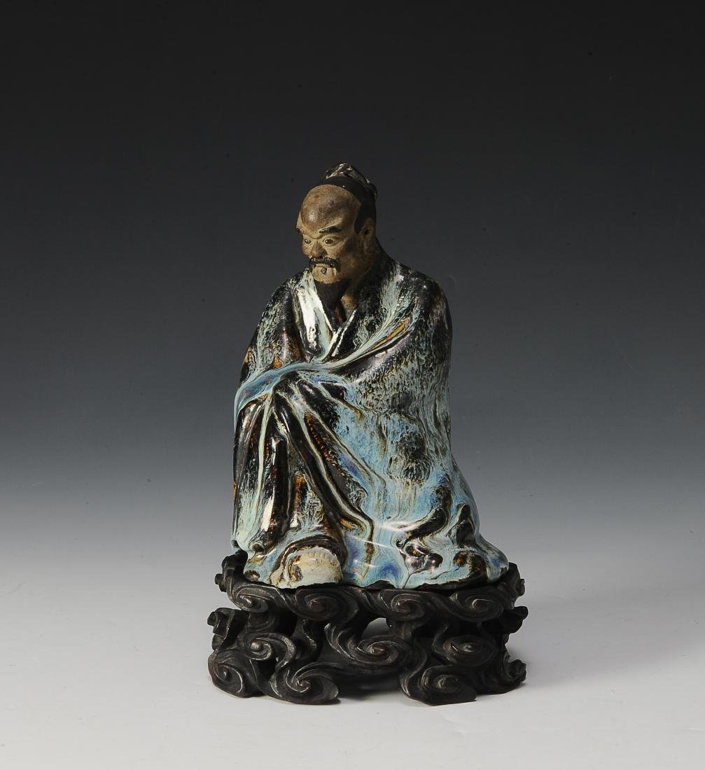 Chinese Seated Ceramic Scholar with Stand