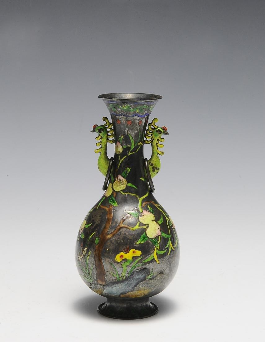 Chinese Enameled Silver Vase, 19th Century
