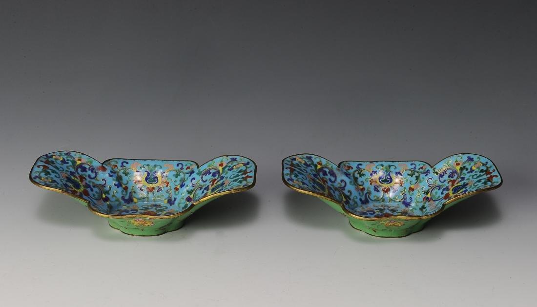 Pair of Chinese Quatrefoil Cloisonne Bowls,18th. C