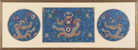 Chinese Embroidered Blue Silk Dragon Robe Panels