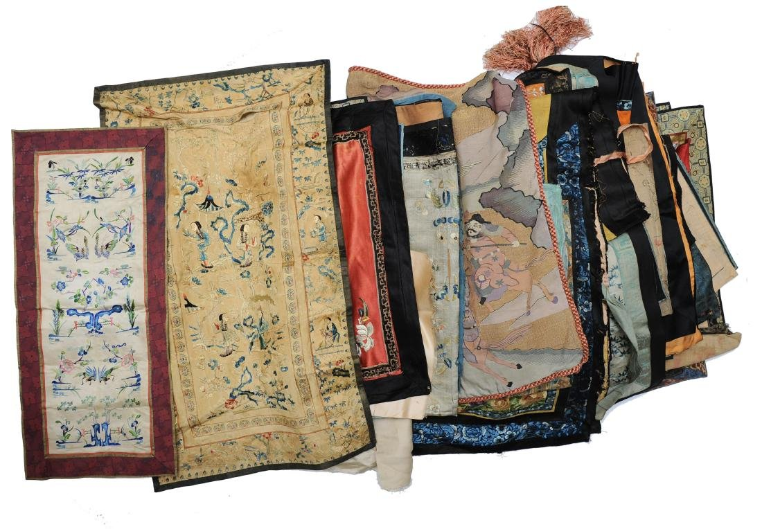 (62) Large Group of Chinese Embroideries and Silks