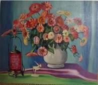 Francis F. Brown Oil Masonite Floral Painting