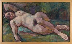 Dutch Oil on Board Reclining Nude Painting