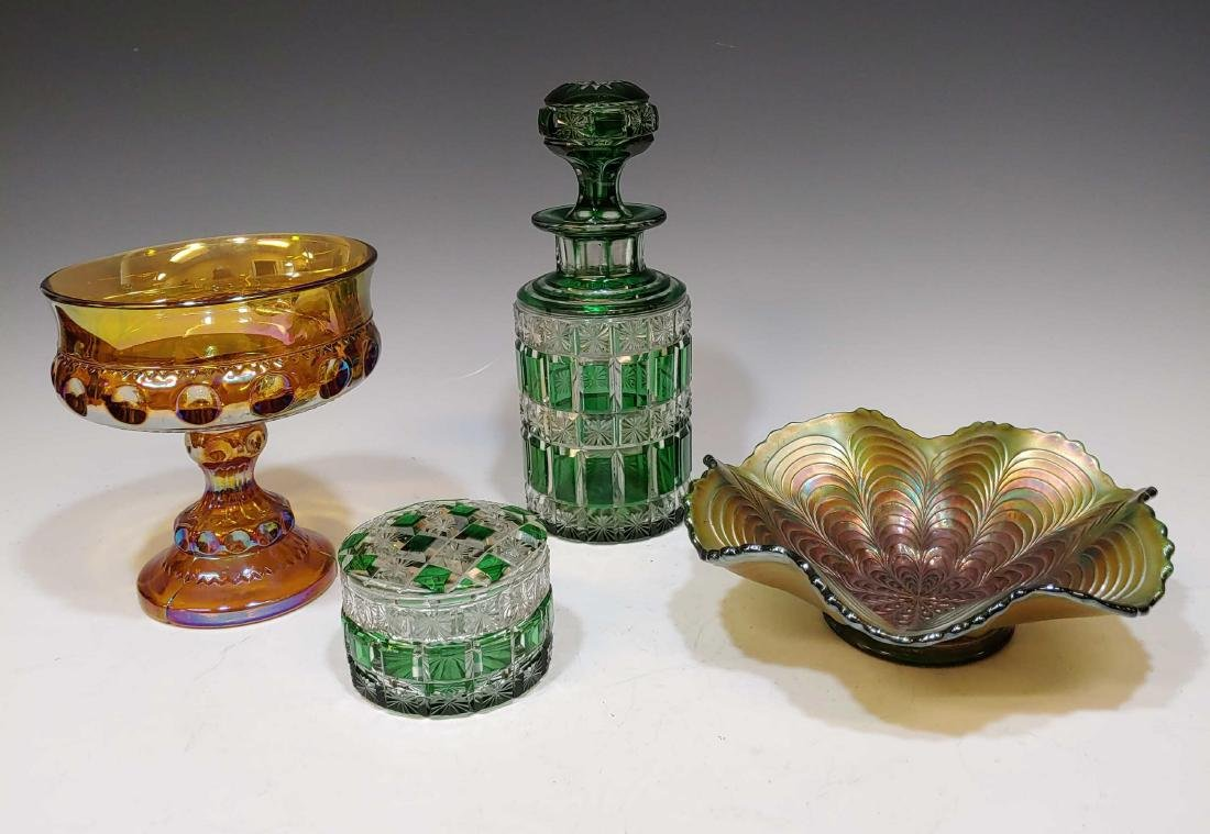 (4) Green Cut to Clear & Carnival Glass