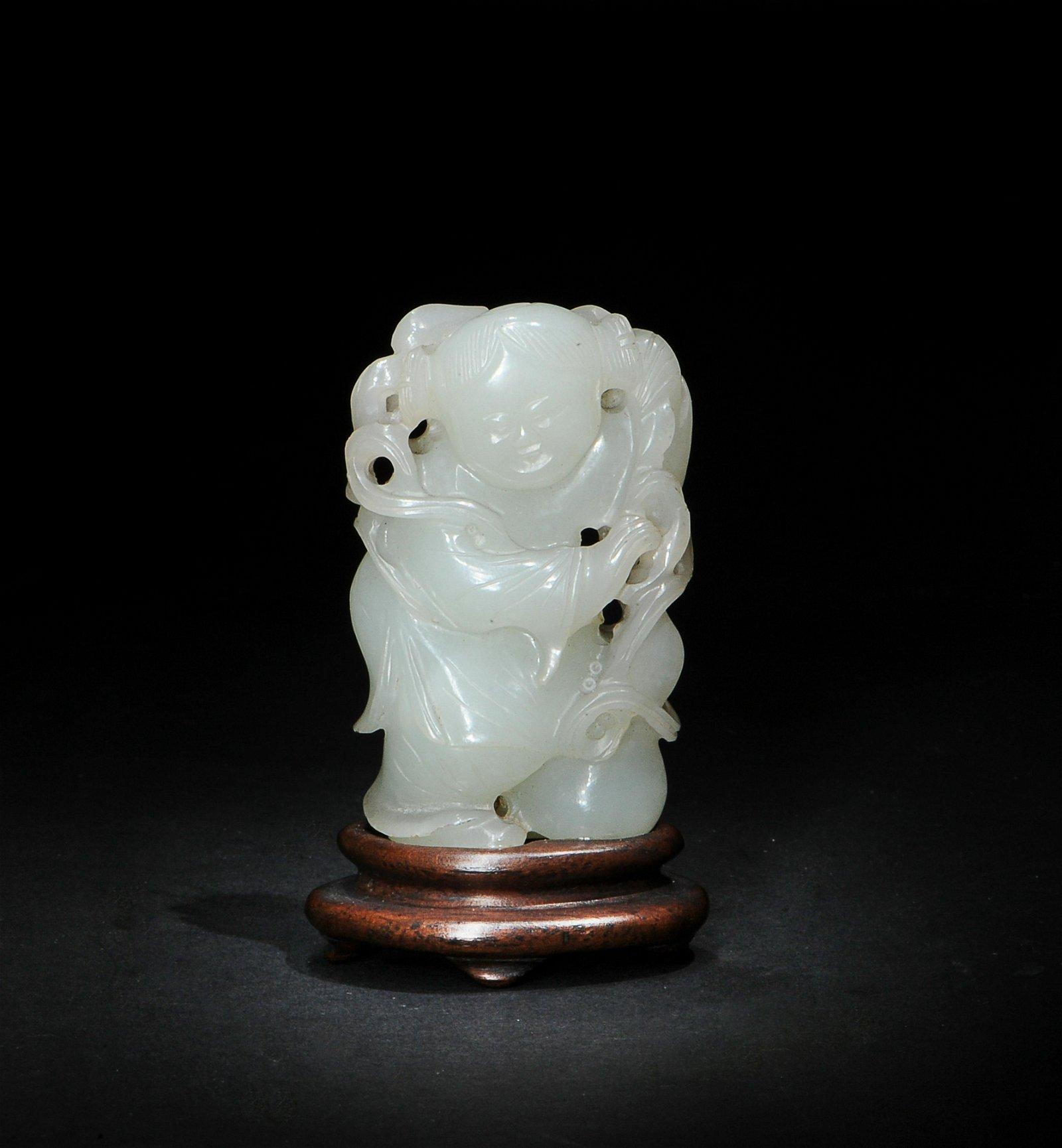 Chinese White Jade Carved Boy, 18th Century