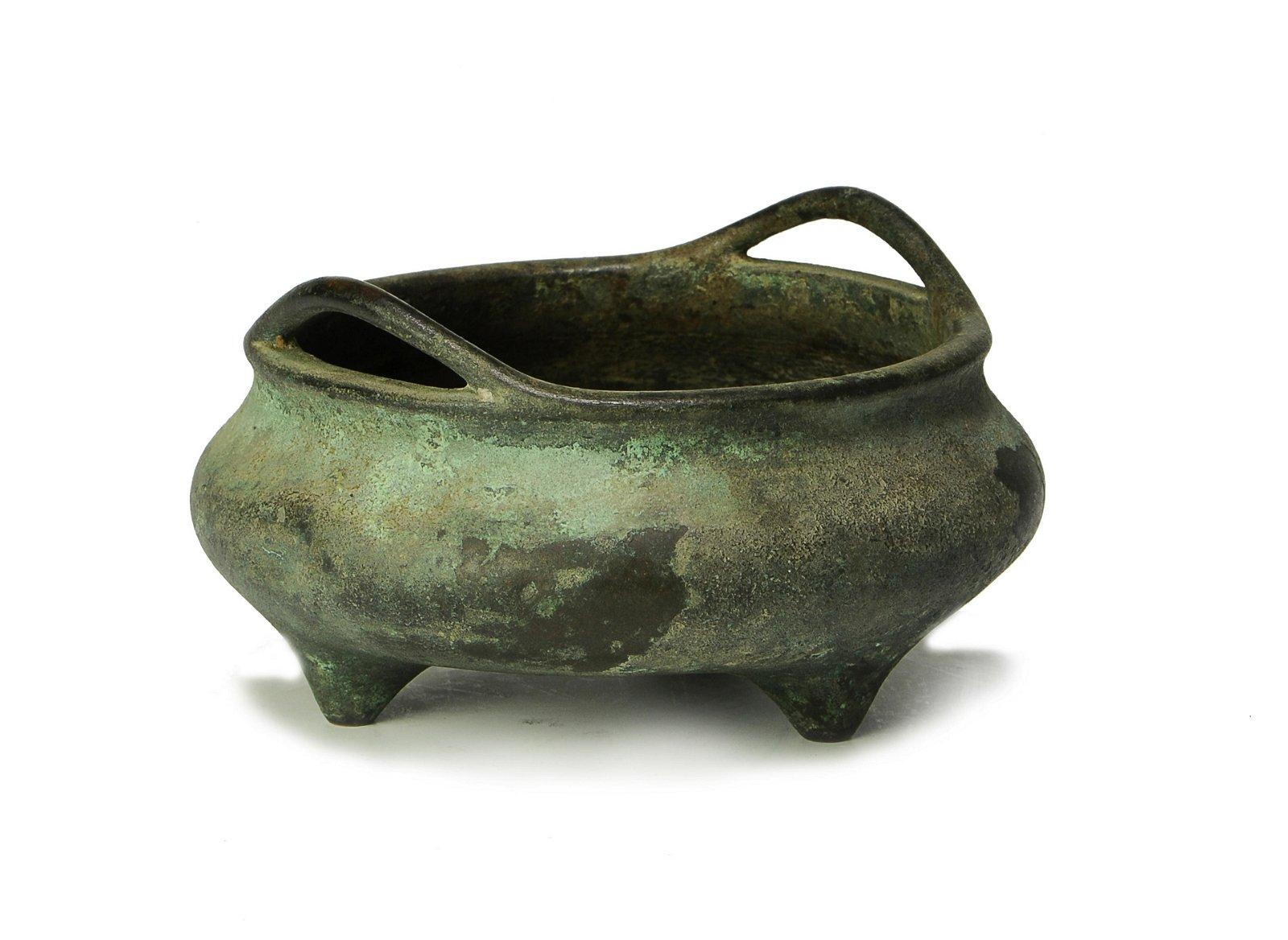 Chinese Bronze Incense Burner, 18th Century, Marked