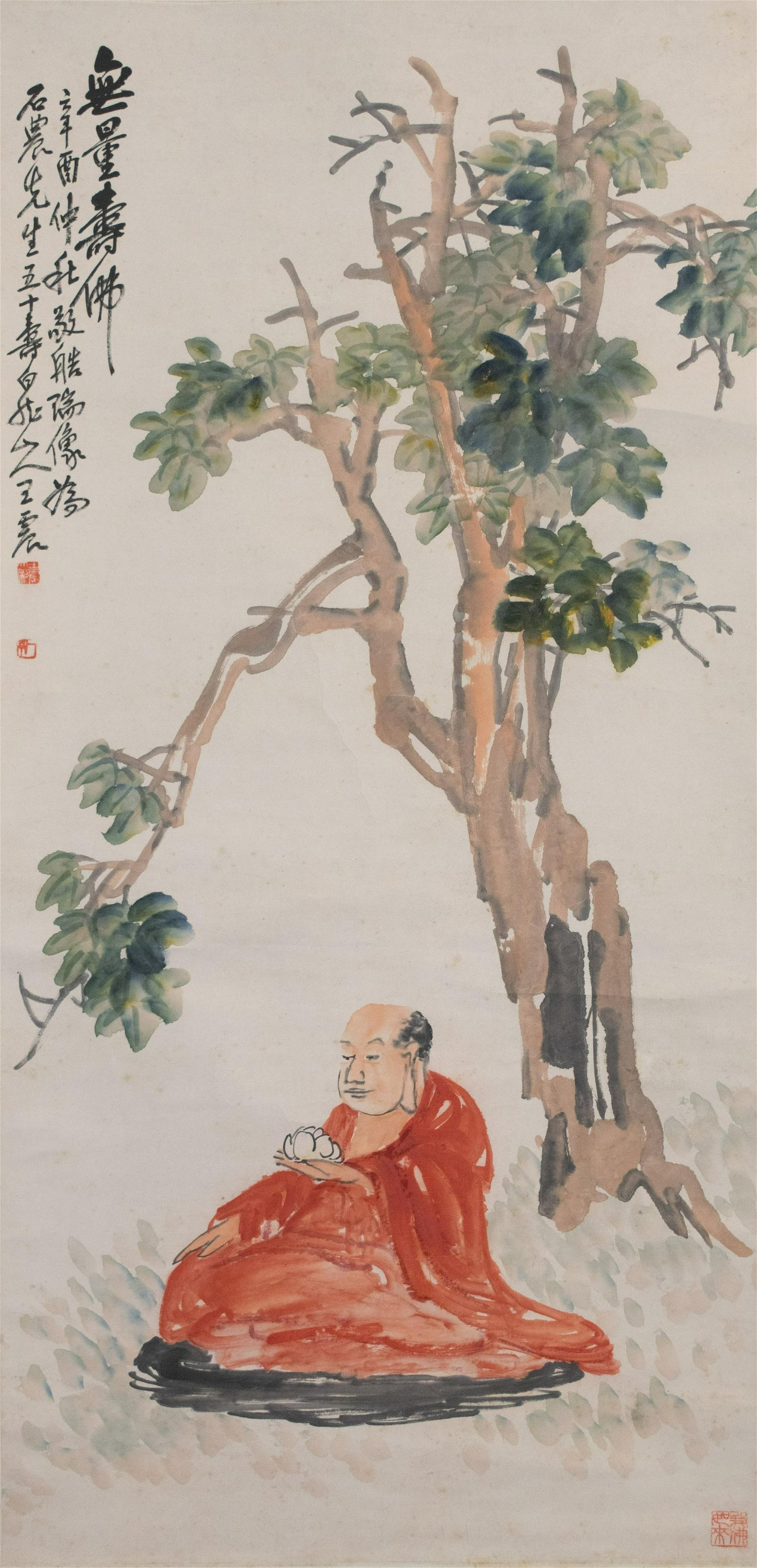 Chinese Painting of Red Robed Buddha, Wang Zhen