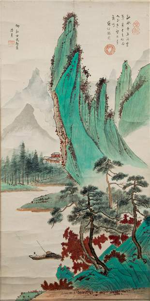Landscape Painting, Pan Su, with Poem of Zhang Boju
