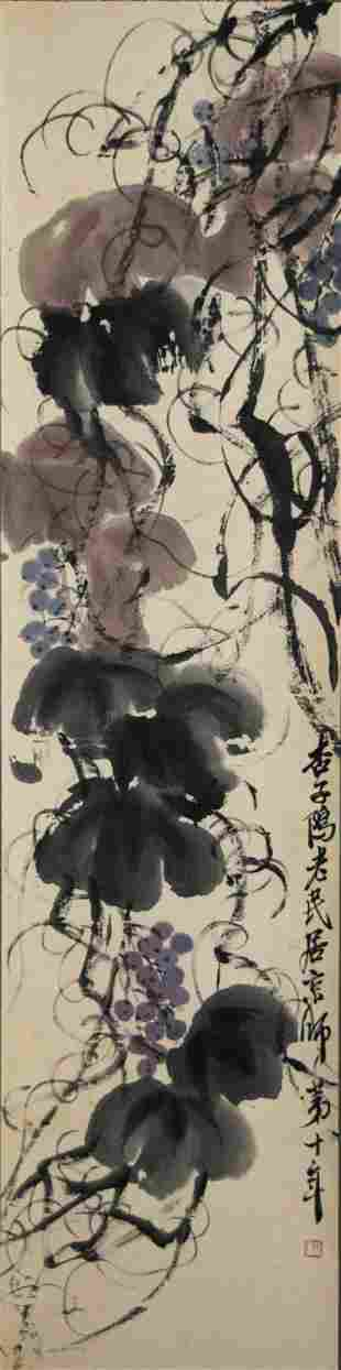 Chinese Painting of Grapes & Vines, Qi Baishi