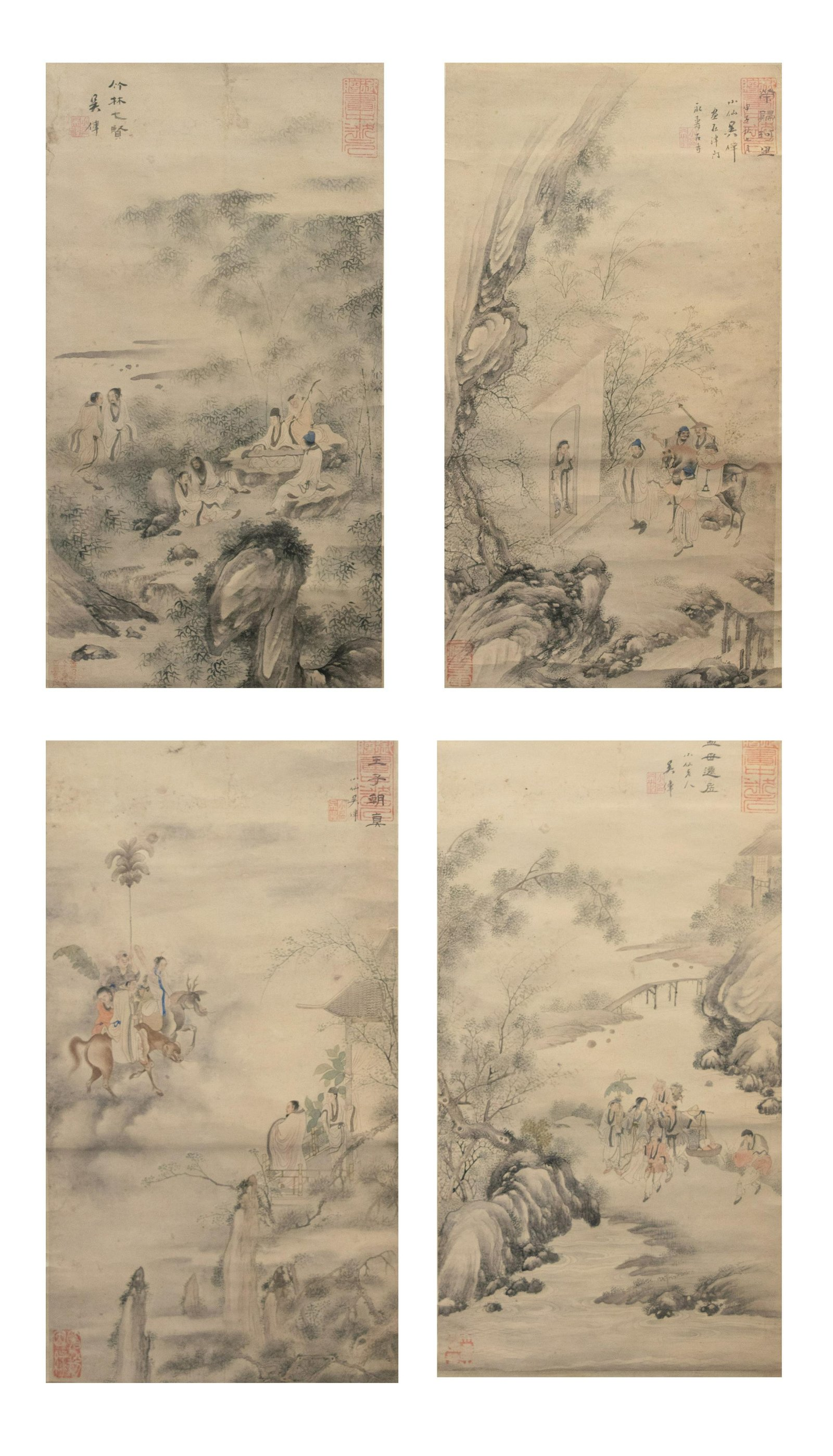 Set of 4 Landscape Paintings, Attributed to Wu Wei