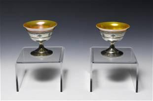 2 Sterling Steuben Calcite Champagne Sherbets