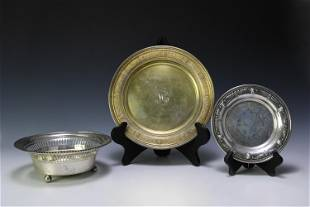 3 American Sterling Silver Bowls Plates