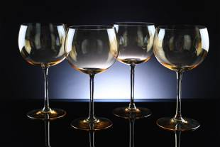 4 Delicate Hand Blown Lead Crystal Wine Glasses