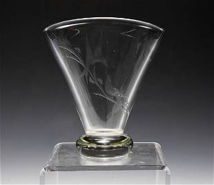 Etched Lead Crystal Fan Vase