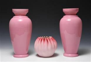 3 Victorian Cased Vases