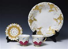 (4) Meissen Bowl, Cups and Saucer