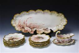 (15) Limoges Fish Platter, Sauce Boat and Plates