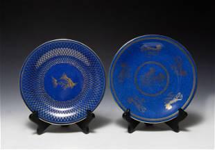2 Wedgwood Porcelain Blue Lustre Plates