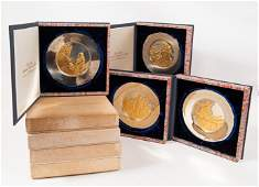 4 Cased Bicentennial Sterling  Gold Plates