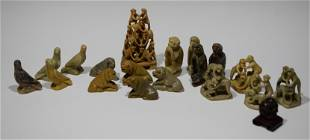 19 Chinese Carved Soapstone Animal Figures