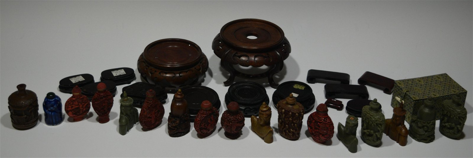 (17) Chinese Snuff Bottles and (12) Wood Stands