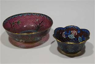2 Chinese Plique a Jour Bowls