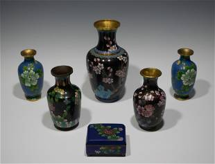 5 Chinese Cloisonne Vases and 1 Box
