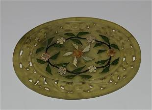 Chinese Jade Carving w Glass Stone Applique