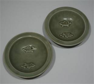 2 Small Green Chinese Dishes with Fish
