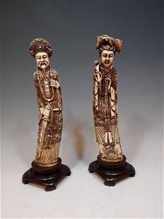 2 Resin Chinese Figures Emperor Empress
