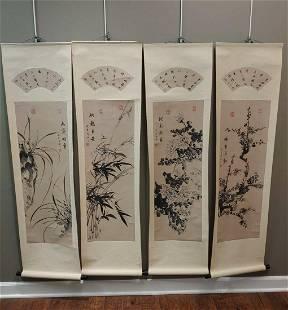 Scrolls of the 4 Season Flowers Qing Dynasty