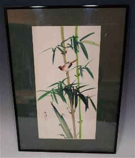 Chinese Brush Painting Bamboo Bird