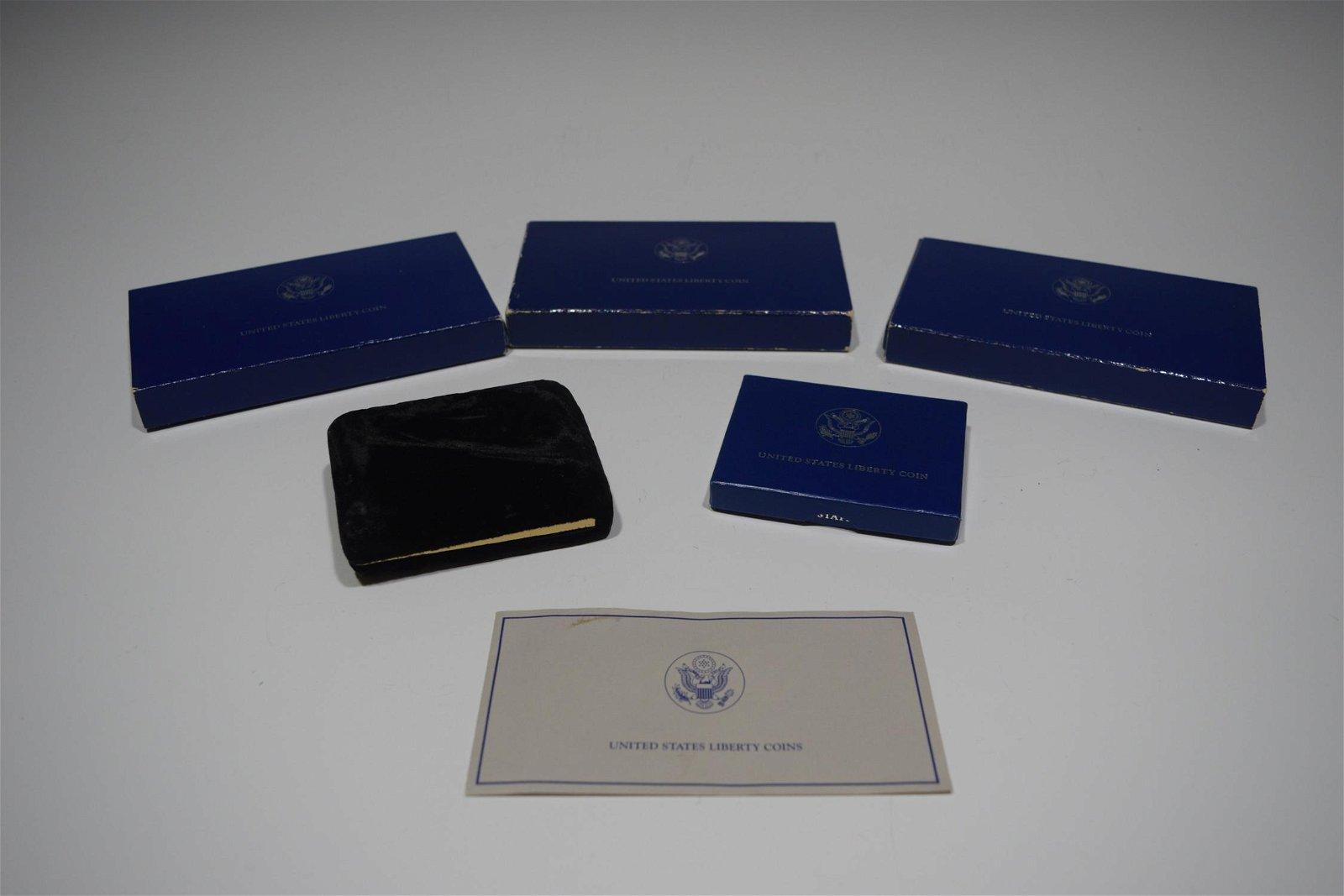 (5) US Liberty Proof Dollar & Half Coins
