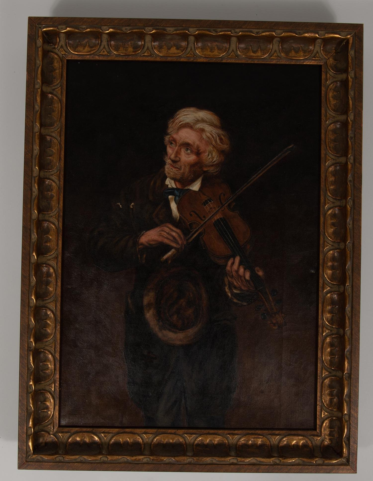 Maughlin, Portrait of Man w/ Fiddle, Oil on Canvas