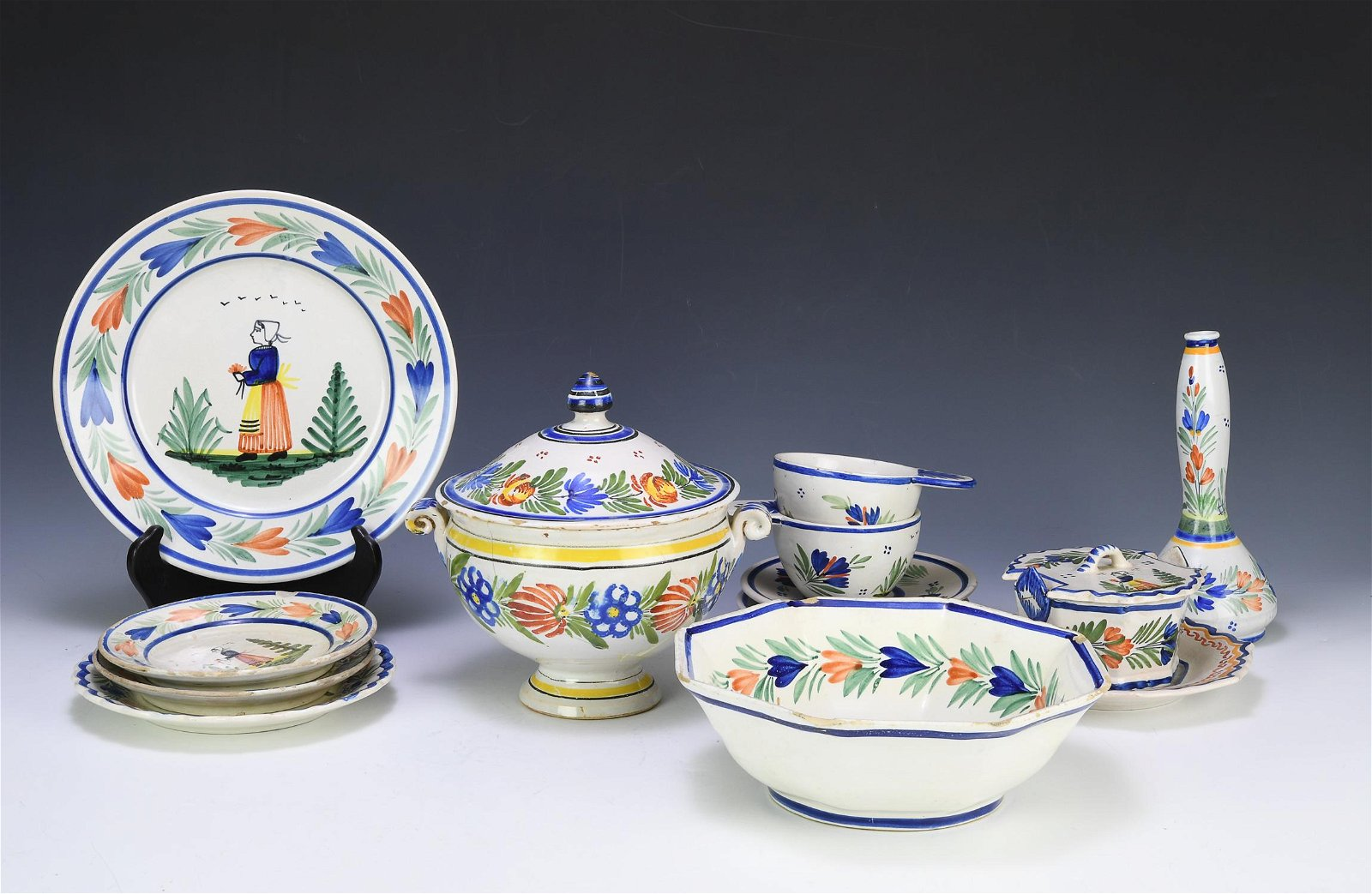 (12) Quimper Mistral Blue French Pottery, 19th C