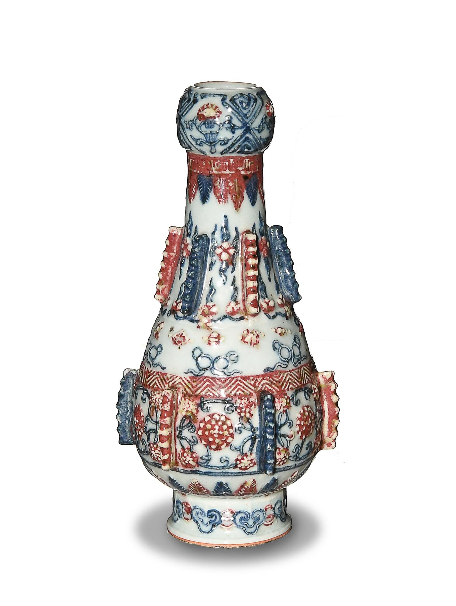 Chinese Blue and Red Garlic Head Vase, 19th Century