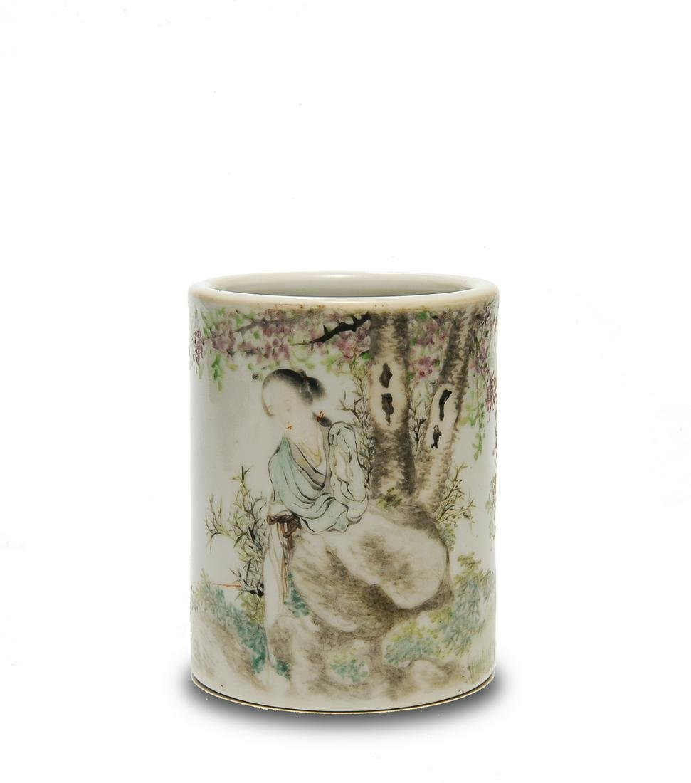 Famille Rose Brush Pot, Late 19th to Early 20th Century