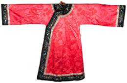 Chinese Coral Ground Silk Robe, Republic Period
