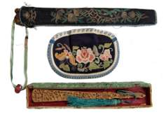 4 Late Qing Chinese Fan in Embroidered Case