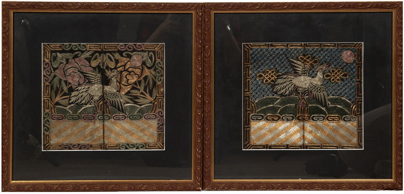 (2)Chinese Silver Pheasant Ranking Badges, 19th Century