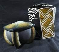 (2) Studio Art Pottery Lidded Jars