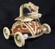 Don Montano Art Pottery Lidded Jar on Wheels