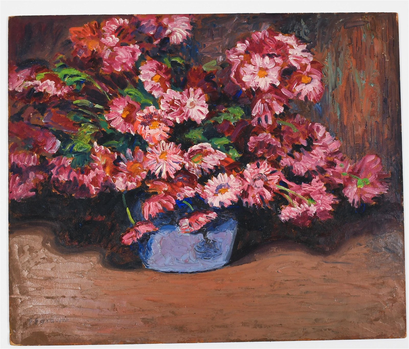 Francis Focer Brown Oil Board Painting Pink Daisy