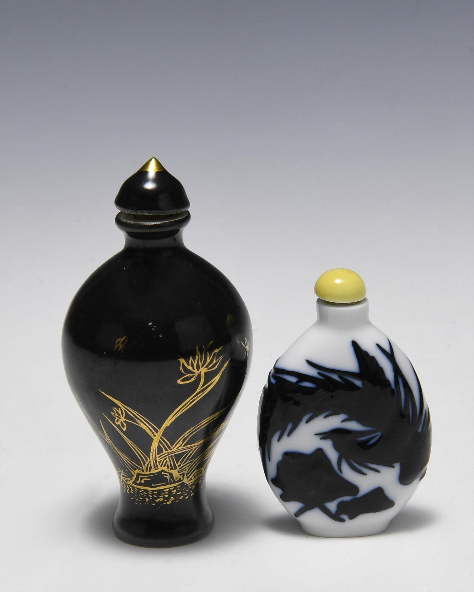 (2)Chinese Snuff Bottles Porcelain & Glass, 19th C