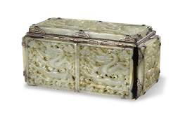 Silver Box with Chinese Jade Plaques, Ming