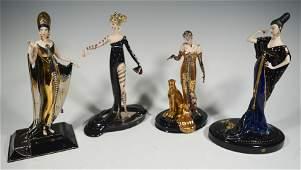 Franklin Mint & Erte, 4 Boxed Porcelain Figures